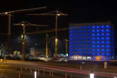 Budowa Stuttgart 21 przy nocą Fotografia Royalty Free