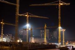 Budowa Stuttgart 21 przy nocą Obraz Royalty Free