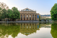Stuttgart Opera. Cityscape Picture of Stuttgart Opera in the New Palace Park with Reflection in the water Royalty Free Stock Photo