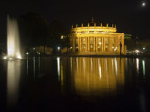 Stuttgart opera house at night royalty free stock images