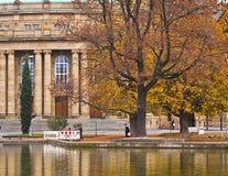 Stuttgart Opera theater partial view with lake Stock Photo