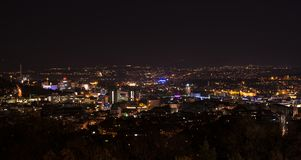 Stuttgart panorama at night with main station and Stock Photo