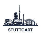 Stuttgart Skyline Emblem Stock Images
