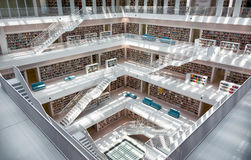 Stuttgart Stadtbibliothek City Library Interior Architecture White Corner Royalty Free Stock Images