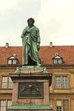 Stuttgart, standbeeld van Friedrich Schiller Stock Afbeeldingen