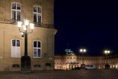 Stuttgart street lamp in front of castle royalty free stock photos