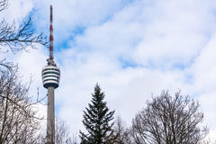 Stuttgart TV Tower Fernsehturm Monochrome View Germany Building Stock Images