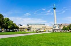 STUTTGART TYSKLAND - September 15, 2016: Schlossplatz är laren Arkivbilder