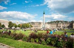 STUTTGART TYSKLAND - September 10, 2015: Schlossplatz Arkivbilder