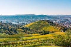 Stuttgart TysklandGrabkapelle vingårdar Autumn Fall Season Beaut royaltyfria bilder