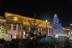 Stuttgart Weihnachtsmarkt Schlossplatz 2016 Christmas Market Night Lights City royalty free stock photos