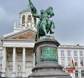 Stutue of Godefroid de Bouillon in Brussels, Belgium. Equestrian Statue is placed in Royal Square in Brussels representing Godfrey of Bouillon Gottfried von Royalty Free Stock Photo