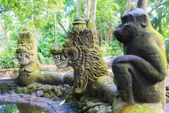 Stutue in Sacred Monkey Forest, Ubud, Bali, Indonesia Stock Image