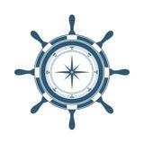 Stuurwiel en kompas Royalty-vrije Stock Afbeelding