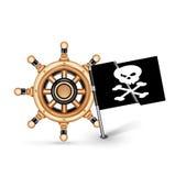 Stuurwiel en piraatvlag op wit wordt geïsoleerd dat Royalty-vrije Stock Afbeelding