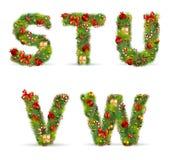 STUVW, Weihnachtsbaumschrifttyp Lizenzfreies Stockfoto