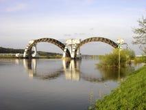Stuw Driel,测流堰在河莱茵河(Nederrijn,荷兰) 库存照片