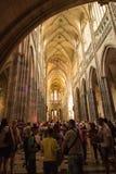 StVitus在布拉格城堡,捷克的大教堂内部 库存图片