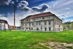 Stvolinky, kraj di Machuv, repubblica Ceca - 14 aprile 2017: ricostruzione della serratura nel pomeriggio di primavera Fotografie Stock Libere da Diritti