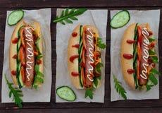 Stwarza ognisko domowe robić hot dog z warzywami, soczystą kiełbasą i arugula, Obraz Stock
