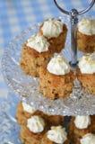 Stwarza ognisko domowe robić słodkiego orzecha włoskiego marchwiany tort z masła kremowym lodowaceniem Fotografia Stock
