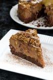 stycke av chokladkaramellkakan på en vit platta, lodlinje Royaltyfri Fotografi