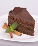 Stycke av chokladpajen Royaltyfri Fotografi