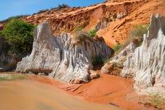 Stycke av den fantastiska kusten av strömmen av den felika strömmen muine vietnam Royaltyfri Fotografi