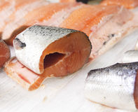 Stycke av den rå fisken Arkivfoto