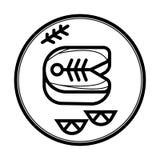 Stycke av den stekte fisksymbolen royaltyfri illustrationer