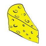 Stycke av ost som isoleras på en vit bakgrund. stock illustrationer