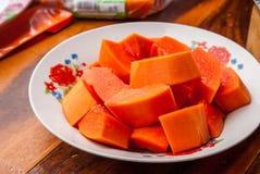 Stycke av papayaen Royaltyfria Foton