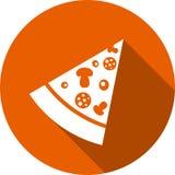 Stycke av pizzarundasymbolen med skugga Royaltyfri Foto