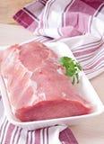 Stycke av rått grisköttkött Fotografering för Bildbyråer
