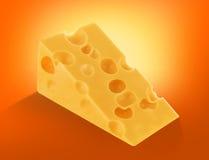 Stycke av schweizisk ost med isolerade hål royaltyfria foton