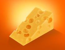 Stycke av schweizisk ost med isolerade hål, stor bitutklipp arkivbilder