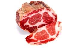 Stycke av smakligt rökt kött fotografering för bildbyråer