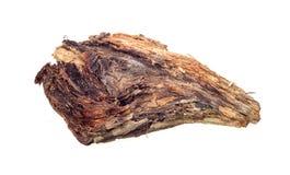 Stycke av trä på en vit bakgrund Fotografering för Bildbyråer