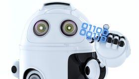 Stycke för androidrobotinnehav av den binära koden Royaltyfri Bild