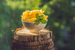 Stycken av ananas på en bakgrund av grönska Royaltyfria Foton