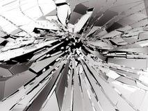 Stycken av brutet eller splittrat exponeringsglas på svart Arkivbild