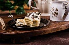 Stycken av den ljusbruna kakan Royaltyfria Foton