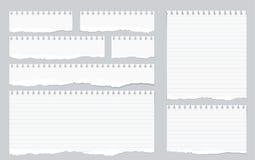 Stycken av den sönderriven vit fodrade anteckningsboken skyler över brister på grå bakgrund stock illustrationer