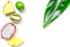 Stycken av exotiska frukter Dragonfruit, ananas och kiwi på vit copyspace för bästa sikt för bakgrund Royaltyfri Fotografi