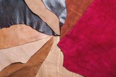 Stycken av färgrikt läder Royaltyfri Bild