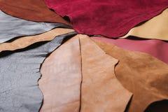 Stycken av färgrikt läder Arkivfoto