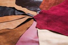 Stycken av färgrikt läder Royaltyfria Bilder