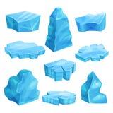 Stycken av isuppsättningen, förkylning fryst kvarter, iskall klippa, isbergvektorillustrationer Arkivfoton