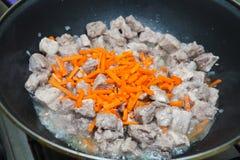 Stycken av kött med morotragu Royaltyfri Foto