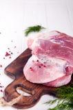 Stycken av kött och grupppersilja, kryddor arkivfoton